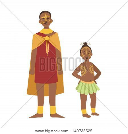 Chief And His Son In Skirt From African Native Tribe Simplified Cartoon Style Flat Vector Illustration Isolated On White Background