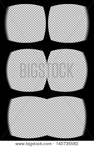 Virtual reality glasses overlay on the transparent background. View from the vr helmet. Vector, template, isolated, eps 10.