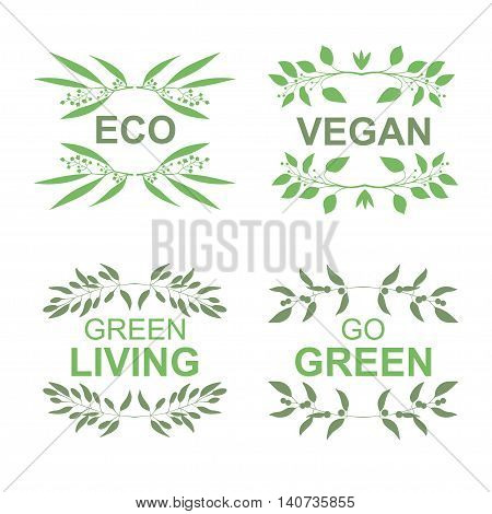 Organic food, Vegan product labels set for food and drink vector illustration. Set of green frames with silhouette of branches isolated on white background