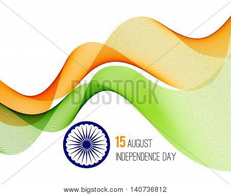 Indian Independence Day concept background with Ashoka wheel in national flag tricolors. Vector Illustration
