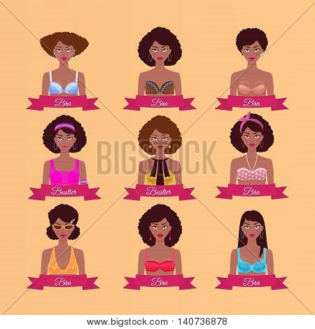Set with young black woman in different bras and bustiers. Women's clothing. Vector illustration