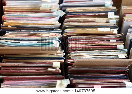 File Folders In A File Cabinet, Card Catalog In A Library, Closeup