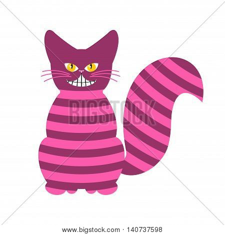 Cheshire Cat. Magic Animal With Long Tail. Striped  fairy Tale Of The Beast