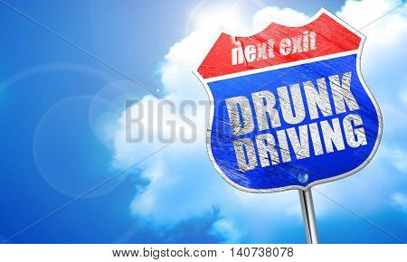 drunk driving, 3D rendering, blue street sign