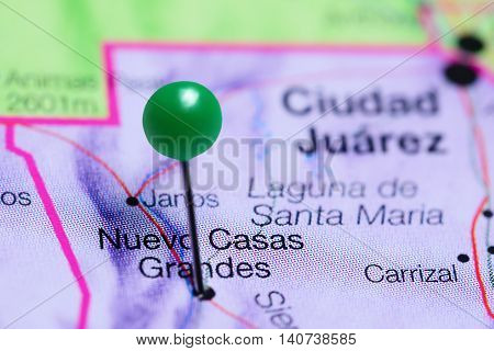 Nuevo Casas Grandes pinned on a map of Mexico