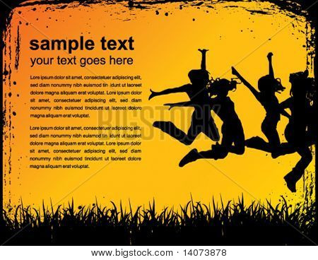jumping team on the background - vector poster