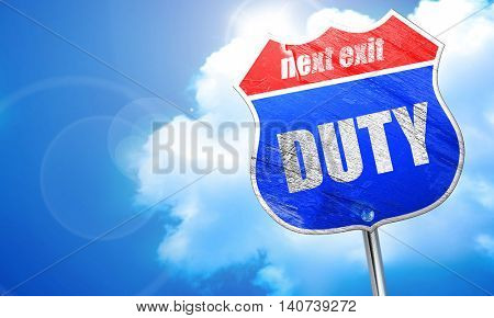 duty, 3D rendering, blue street sign