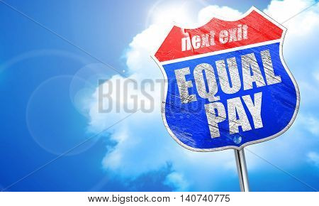 equal pay, 3D rendering, blue street sign