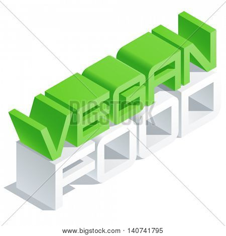 Vector logotype with 3D volume letters. Slim three dimensional isometric text Vegan food