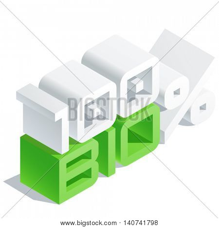 Vector sign with 3D volume letters. Slim three dimensional isometric text 100 percent Bio
