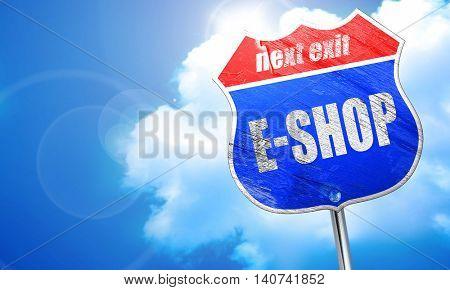 e-shop, 3D rendering, blue street sign