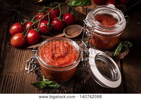 a Homemade tomato puree from fresh tomatoes