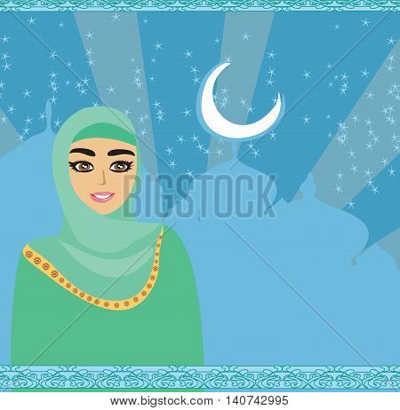Portrait of Muslim beautiful girl in hijab , vector illustration