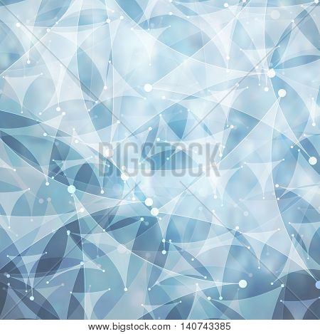 Low poly tech background blue design. Vector geometric technology flyer template background with curved triangles