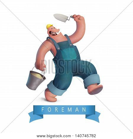 Funny worker foreman in yellow casket white background