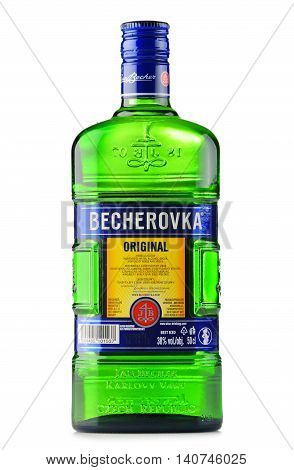 POZNAN POLAND - JULY 28 2016: Becherovka often used as a digestive aid is a an herbal bitters produced in Karlovy Vary Czech Rep. by the Jan Becher company. Owned by Pernod Ricard.