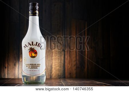 POZNAN POLAND - JULY 27 2016: Malibu Rum is a flavored rum-based liqueur made with natural coconut extract produced by West Indies Rum Distillery Ltd. on Barbados