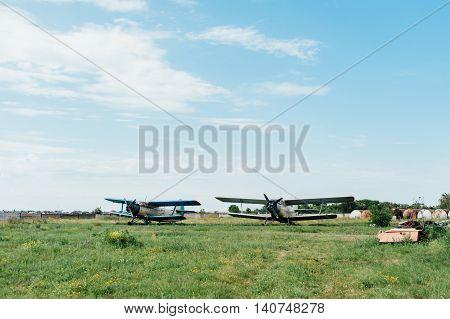 Airplanes Standing On Green Grass. Ukraine, 2016