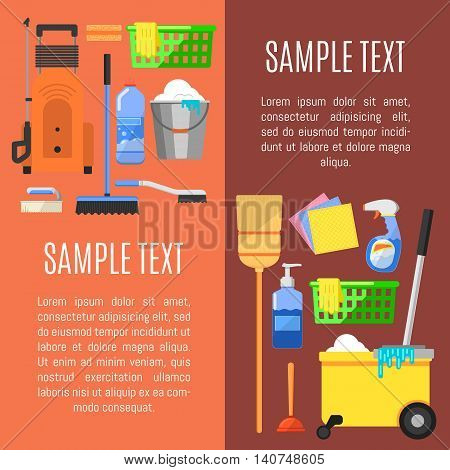 Cleaning tools concept banners flat vector illustration
