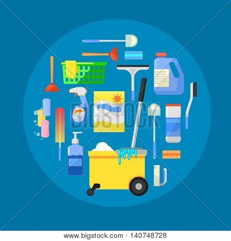 Cleaning tools concept banner flat vector illustration