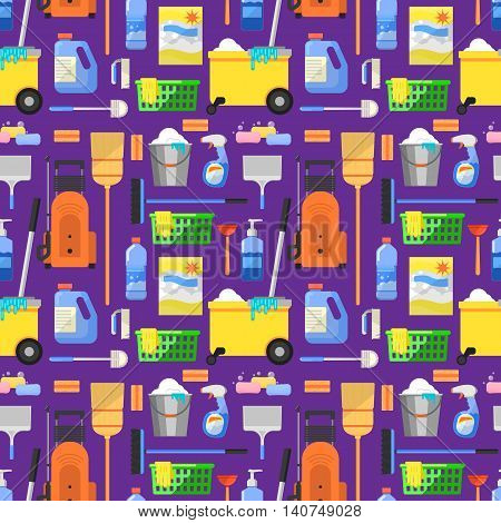 Cleaning tools icon set background flat vector illustration