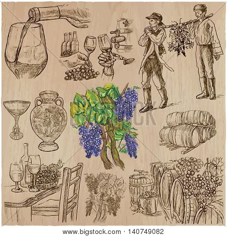 Wine harvest. Vintage pack. Collection of hand drawn vector illustrations. Each drawing comprise a few layers of editable outlines. Freehand sketching set.