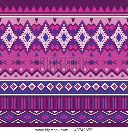 Tribal Boho Seamless Pattern. Ethnic Geometric Ornament. Aztec Print. Vector Background for Fabric and Wrapping Paper.