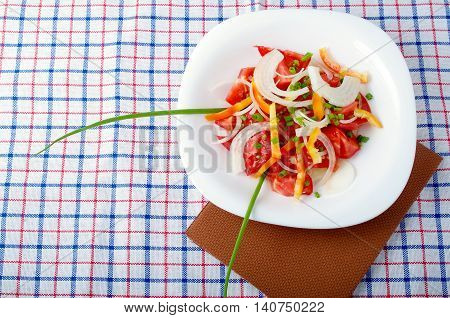 Top View Of A Small Portion Of Vegetarian Salad From Fresh Tomatoes