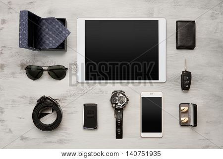 High angle view of a set of modern businessmen accessories