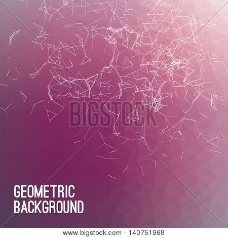 Abstract colorful triangulated violet geometric background, vector illustration