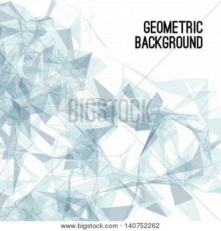 Abstract colorful triangulated geometric blue background, vector illustration