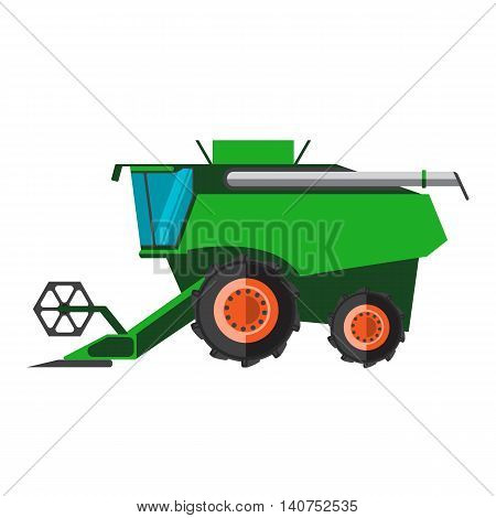 Agricultural combine machine is ready for harvesting on the field, colorful vector flat illustration