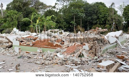 View of House Destruction outdoor on nature background