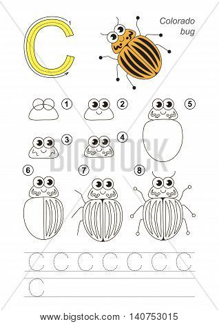 Complete vector illustrated alphabet with kid games. Learn handwriting. Easy educational kid game. Simple level of difficulty. Gaming and education. Drawing tutorial for letter C. Colorado Potato Beetle.