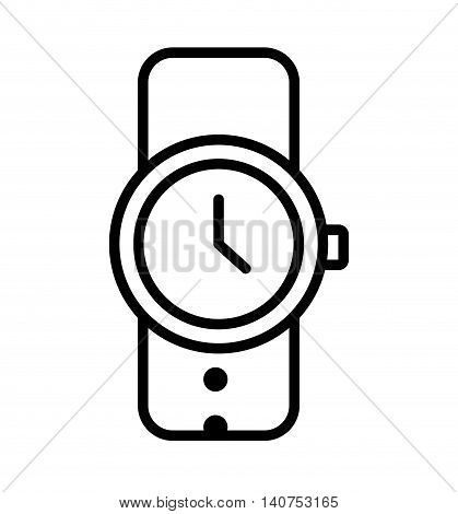 wristwatch clock time male icon vector illustration design