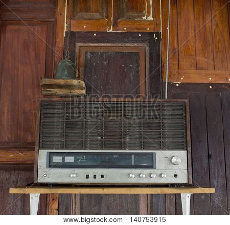 Closeup Old radio classic technology in Thai House
