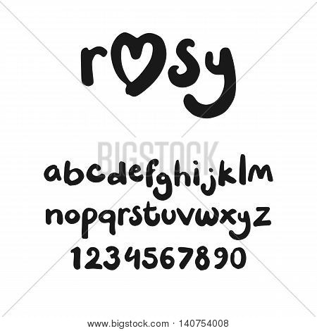 Cute font in lowercase handwritten with a marker (letters and numerals)