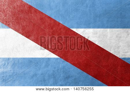 Flag Of Entre Rios Province, Argentina, Painted On Leather Texture