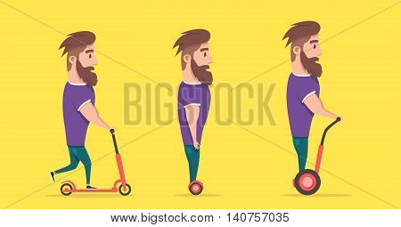 Man on hoverboard and scooter. Cartoon vector illustration. Human on Gyroscooter. Trend. Person on segway. Activity lifestyle. Cute character. Innovation transport