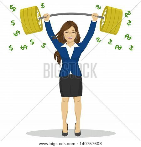 Young businesswoman lifts up heavy barbell with dollar sign. Vector illustration for business financial strength concept.