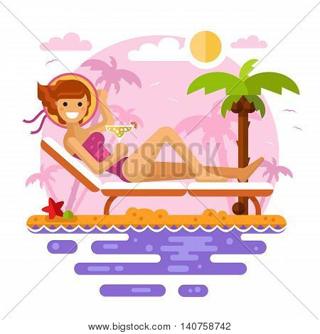 Flat design vector nature landscape illustration of sunbathing girl on tropical beach on the sunset. Including palm, coconut, deck chair, cocktail, hat. Summer vacation, perfect holidays concept.