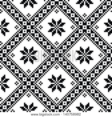 Seamless Ukrainian or Belarusian folk art embroidery black pattern