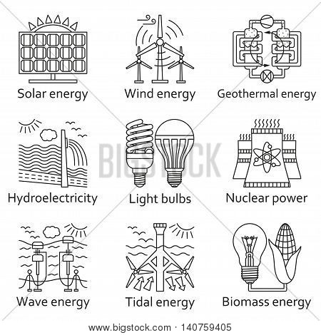 Energy source linear icons set. Vector illustration.