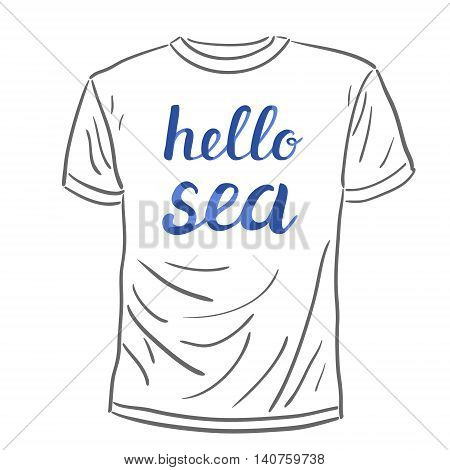 Hello sea. Brush hand lettering on a sample t-shirt. Great for beach tote bags, swimwear, holiday clothes, posters, and more.