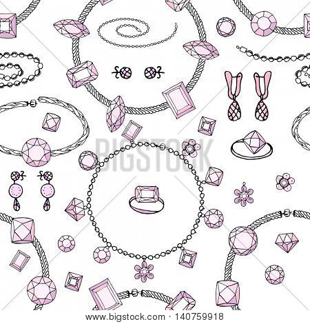 Seamless pattern with bracelets, beads, charms. Endless texture, contour, pink and black.