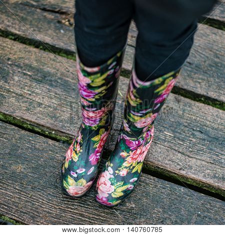 Colorful rain boots