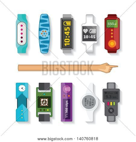 Fitness Tracking Bracelets Vector Set In Flat Style