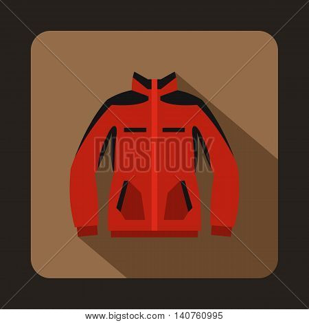 Red sweatshirt with a zipper icon in flat style on a coffee background