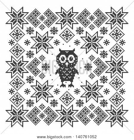 Cross stitch. Scheme of knitting and embroidery. Vector pattern.