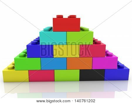 Pyramid of toy bricks in various colors . 3D illustration